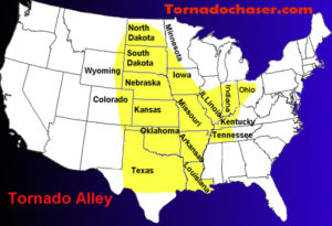 Tornado Alley Map for storm chasing