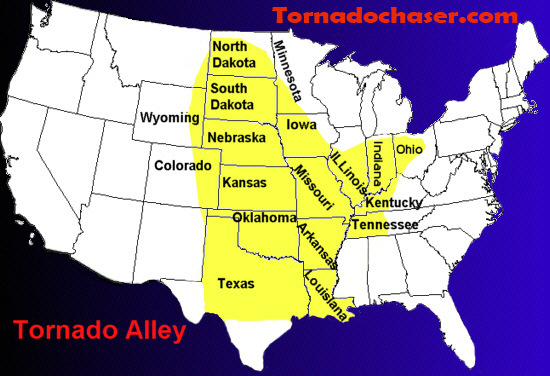 Tornado Alley Tornado Chaser - Us-tornado-map